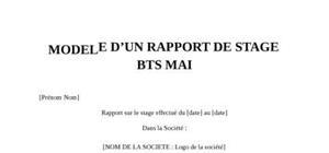 Rapport de Stage BTS MAI