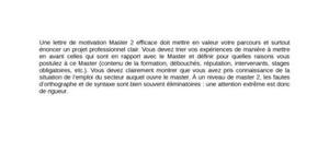 Lettre de Motivation Master 2