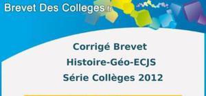 Corrigé Histoire-Géographie Brevet 2012