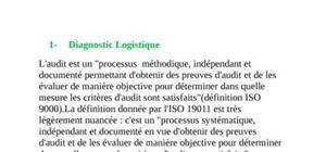 Diagnostic logistique