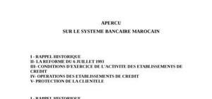 Apercu sur le systeme bancaire marocain