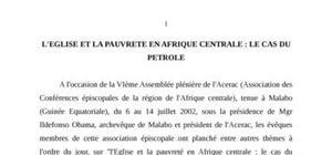 L'eglise et la pauvrete en afrique centrale : le cas du petrole