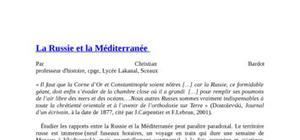 La russie et la méditerranée  par christian bardot professeur d'histoire, cpge, lycée lakanal, sceaux