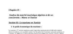 Analyse du marché touristique algérien et de ses concurrents : maroc et tunisie