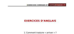Exercices d'anglais - Comment traduire...?