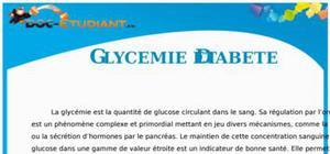 Glycémie et Diabète : Cours Terminale S