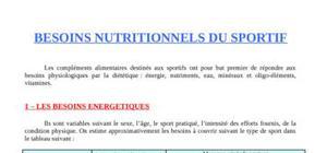 Besoins nutritionnels du sportif
