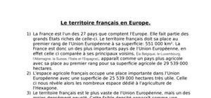 Le territoire français en europe.