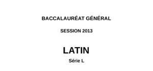 Sujet de latin Bac L 2013