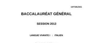 Sujet LV1 Italien Bac ES, S, L 2013