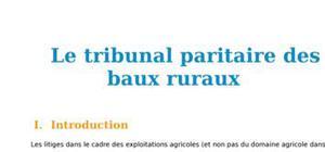 Le tribunal paritaire des baux ruraux