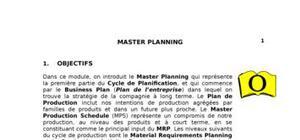 Master Planning : Méthodes de planification logistique
