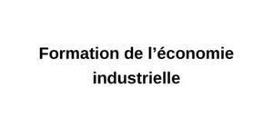 Formation de l'économie industrielle