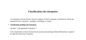 Classifications des formes juridiques d'entreprises