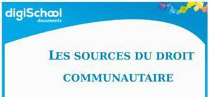 Les sources du droit communautaire