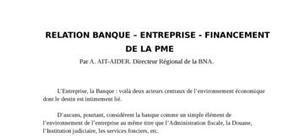 Relation banque – entreprise - financement de la PME