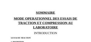 Mode operationnel essai de tractione et de compression