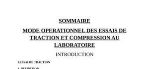 Mode operationnel essai de tractione et de compression