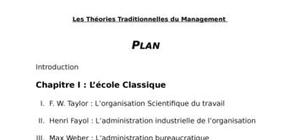 Les théories traditionnelles du Management