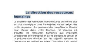 Gestion des Ressource Humaines