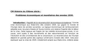 Problèmes économiques et monétaires des années 1930.