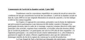 Commentaire de l'arrêt de la chambre sociale, 3 juin 2009