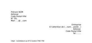 Lettre de motivation BTS Gestion PME - PMI