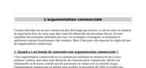 L'argumentation commerciale