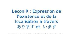 Leçon de Japonais n°9 : Expression de l'existence et de la localisation