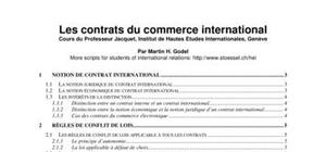 Les contrats du commerce international.