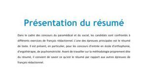 Présentation du résumé - Méthodo Concours Paramédical