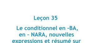 Le conditionnel en -BA, en -NARA, nouvelles expressions et résumé sur les formes de conditionnel - Leçon 35 - Japonais