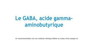 Le GABA, acide gamma-aminobutyrique - Biologie PACES