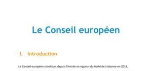 Le Conseil Européen - Droit L1