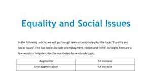 Equality and social issues