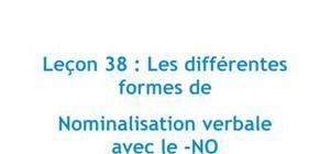 Les différentes formes de nominalisation verbale avec le -NO - Leçon 38 - Japonais