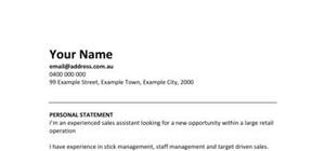 Retail Assistant CV template and example