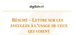 """Résumé – """"Lettre sur les aveugles à l'usage de ceux qui voient"""" de Denis Diderot"""