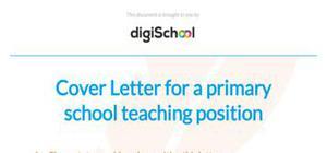 Primary school teacher cover letter example