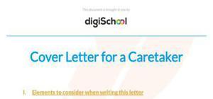 Cover letter for a caretaker