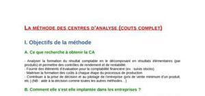 La méthode des centres d'analyse