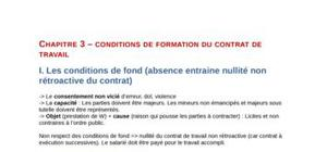 Conditions de formation du contrat de travail