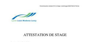 Modèle attestation de stage