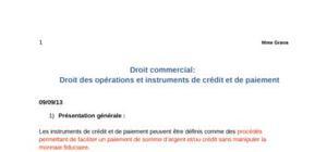 Droit des instruments de crédit - droit commerciel