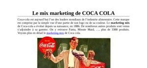 le plan de marchéage de coca