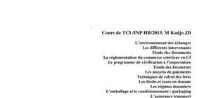 Techniques de commerce international BTS Côte d'Ivoire