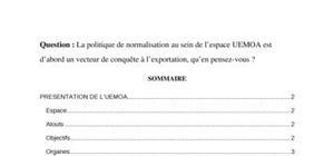 La politique de normalisation au sein de l'UEMOA