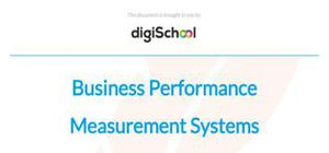 Business performance measurement systems - Business studies - A Level