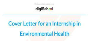 Cover letter for an internship in environmental health
