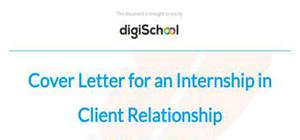 Cover letter for an internship in Client Relationship Management
